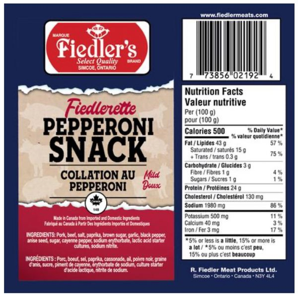 Fiedlerette Nutrition Label