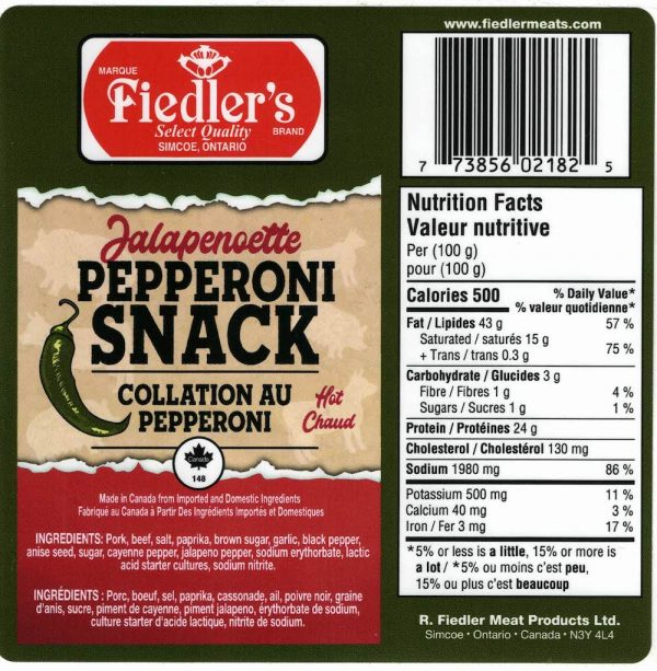 Label for Pepperoni Snack