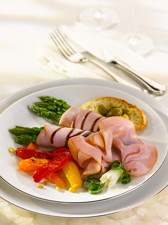 Plated Black Forest Ham on a Plate Asparagus