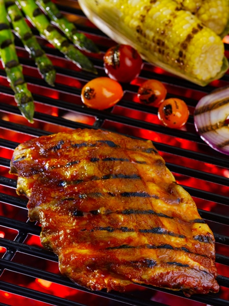 Fully Cooked Pork Ribs on a Grill