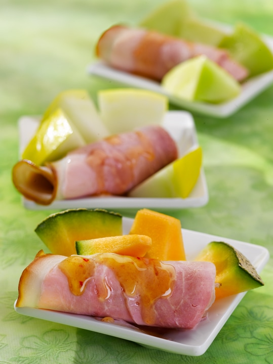 Pork Leg Ham with Melon and Honey