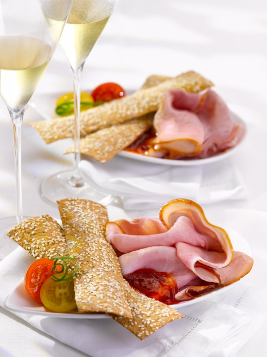 Breadsticks and pork-leg ham